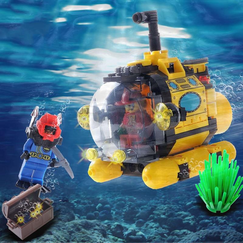 122Pcs Undersea City Series Treasure Hunt Tiny Submarine Building Blocks Model Compatible Legoe City Toys Gift For Children
