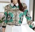 Vintage Blusa de Las Mujeres Tops Blusas Femininas 2016 Chemise Femme Tops Plus Tamaño de Impresión de Lujo Blusas Ropa de Mujer Blusa