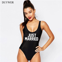 0b529cadc21d5 One Piece Swimsuit Women Swimwear Just Married Letter Bathing Suit High Cut  Bikini Bodysuit Jumpsuit Summer