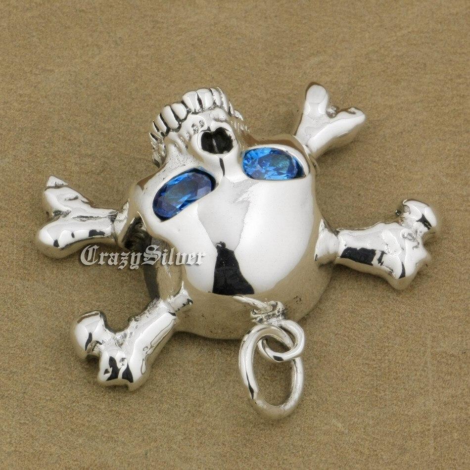 Image 3 - 925 Sterling Silver CZ Eyes Skull Cross Bone Mens Biker Rocker  Punk Pendant 9V024 Just Pendantpendant solitairependant  jewellerypendant bail