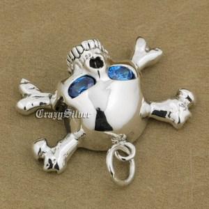Image 3 - 925 Sterling Silver CZ Eyes Skull Cross Bone Mens Biker Rocker Punk Pendant 9V024 Just Pendant