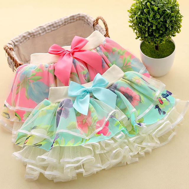 2-6Y New Fashion Children Girl Tutu Skirts Baby Ballerina Skirt Kids Chiffon Fluffy Casual Candy 2 Color butterfly lace Skirt