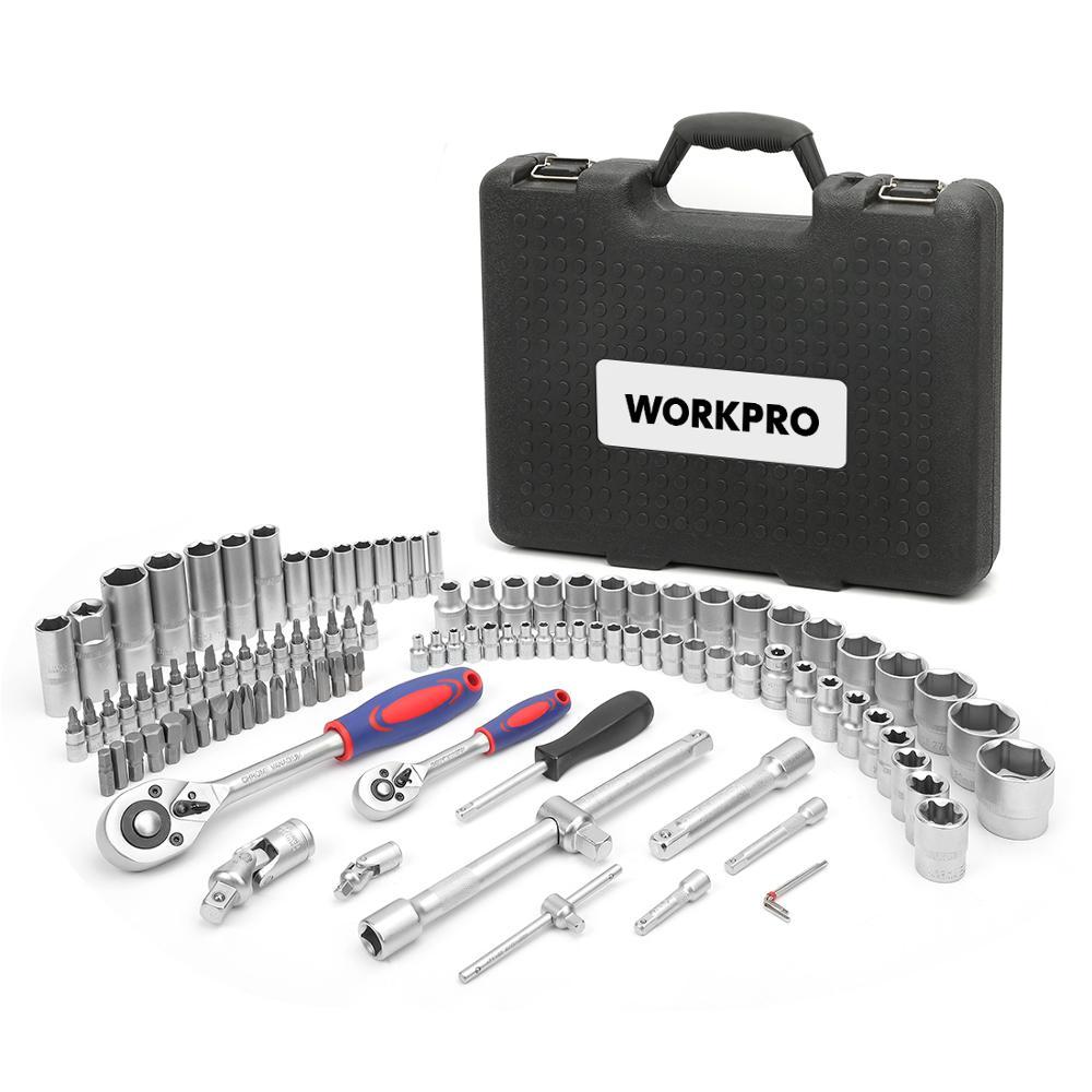 WORKPRO 108 шт. набор инструментов для ремонта автомобиля, механический набор инструментов, матовое покрытие, Набор торцевых головок, трещотка, гаечный ключ - 2