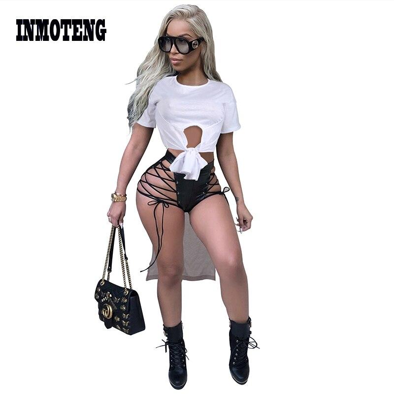 Inmoteng Women Sexy Short Sleeve Tie Up Bow Hem High Low Irregular Maxi Tee Top O Neck White Casual Active Wear Shirts Tops Blouses Shirts Aliexpress