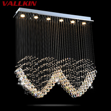 Square LED Ceiling Chandeliers Lamps Crystal Hanging Pendant Lamp Chandelier Fixtures For Villa Mall Dining Room Living room