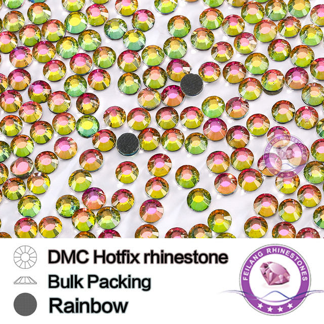 DMC Rainbow Color Strass Stones Crystal HotFix Rhinestone Crafts For Clothing Flatback Glass Iron-on Dress Sewing Accessories
