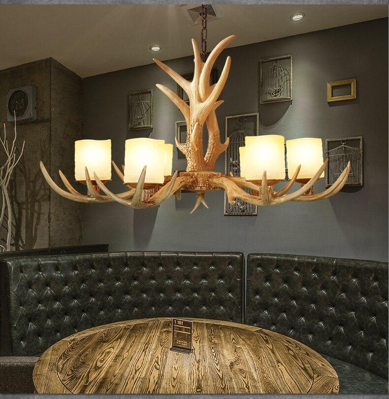 Europe Country 6 Heads American Retro Chandelier Light Resin Deer Horn Antler Glass Lampshade Decoration, E27 110 220V