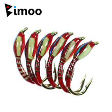Bimoo 6PCS/Lot #12 Peacock Herl Ribbed Red Color Rasin Coated Body Blue Flash Back Yellow Cheek Buzzers Nymph Fishing Flies