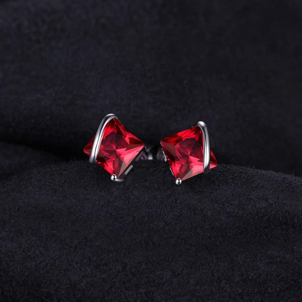 JewelryPalace Klasični trg 2.8ct Stvoren Crveni Ruby Stud Naušnice - Fine nakit - Foto 2