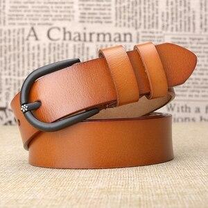 Image 5 - Cinturón de cuero de vaca de alta calidad para mujer, cinturón Retro, informal, a la moda, salvaje