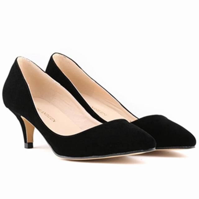 Plus Size 35 - 42 2016 moda nova bombas calçados femininos Mid salto alto calçados femininos mulher
