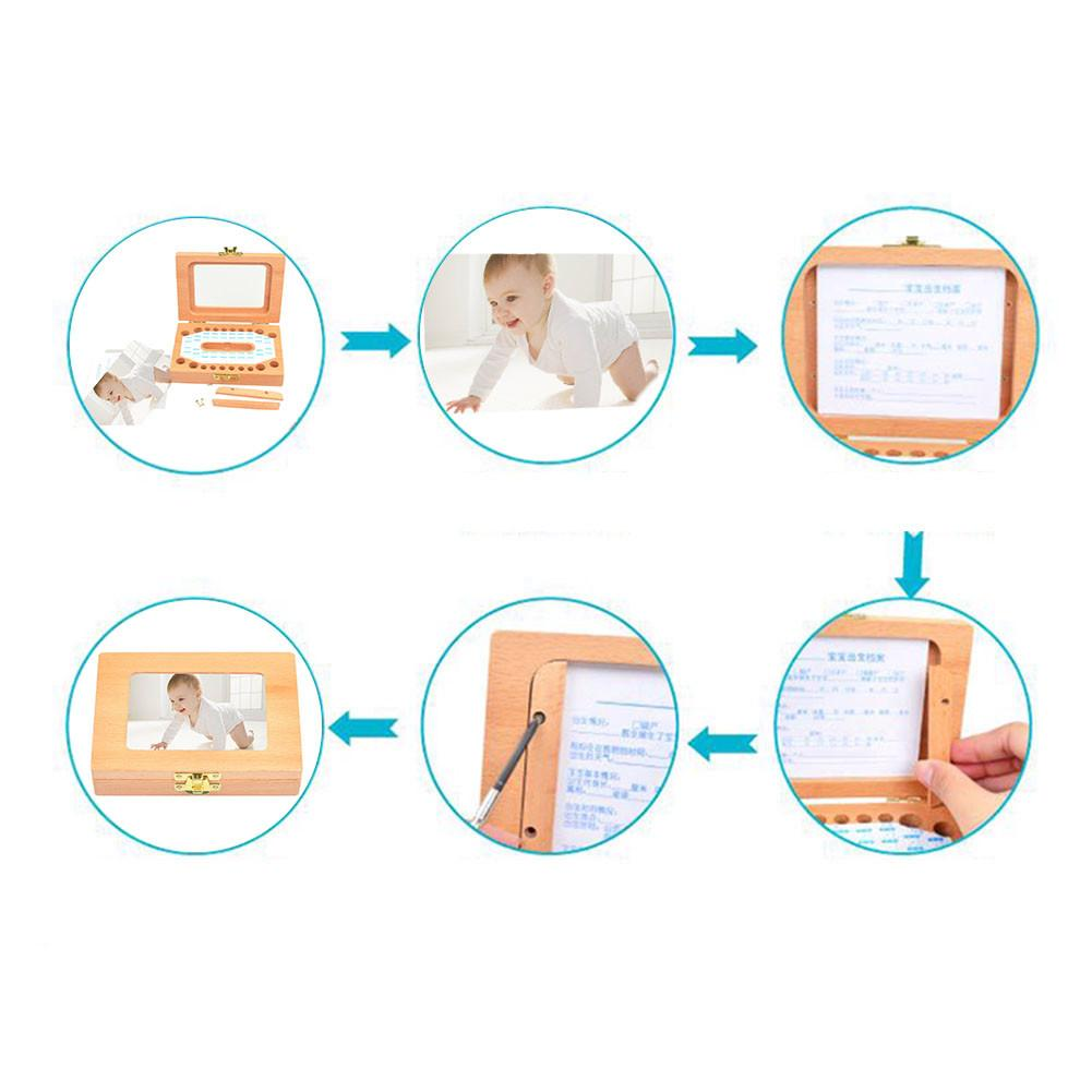 Деревянная детская фоторамка Силиконовая зубная щетка для малышей коробка для хранения детская коробка для хранения зубов