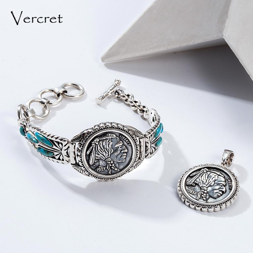 Vercret Turquoise 1937 Native American Authentic Buffalo Indian Nickel Bracelet 925 Silver Jewelry Handmade Soldered Bangle все цены