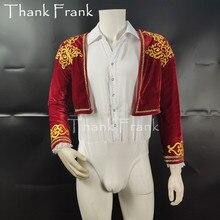 שני חלקים בני נסיך בלט תלבושות תפור לפי מידה גברים בלט ריקוד בגד גוף סט תלבושת ילד למבוגרים התעמלות בגדי גוף חליפת C516
