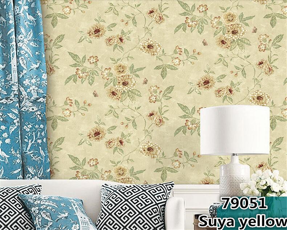 beibehang Retro American Village Pastoral Large Flower Paper Wallpaper Bedroom Living Room Sofa Background Wall paper Classical beibehang pastoral wall paper bedroom