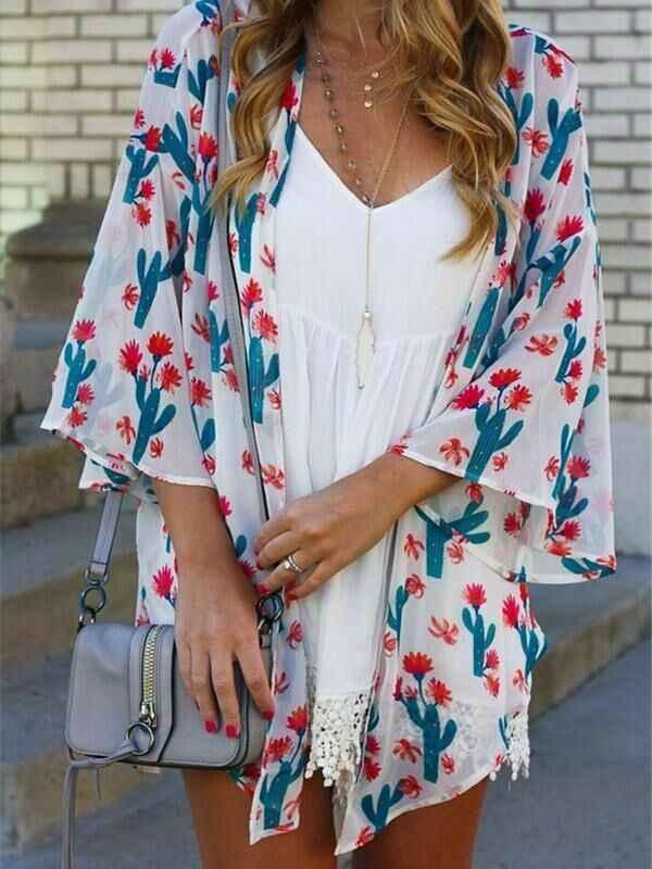 2019 женский Boho свободный шаль Кимоно Кардиган Топы накидка блузка кактус печати пляжное бикини Летний купальный костюм