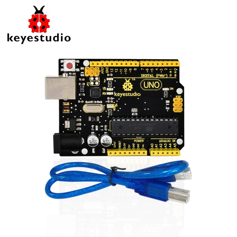 1Pcs Keyestudio UNO R3 board original chip 1Pcs USB cable compatible for Arduino Uno R3