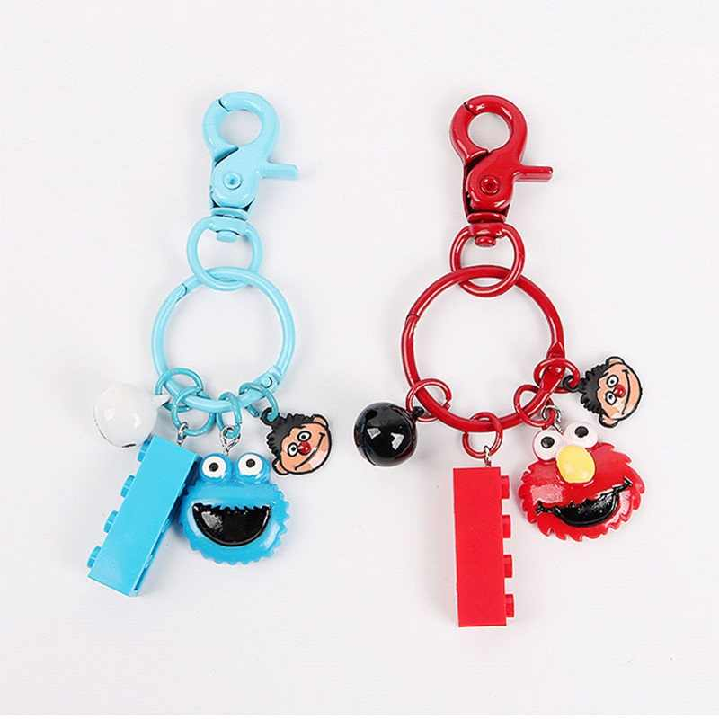 2019 New Cartoon Monsters Keychain Women Man Car Bag Bell Key Chain Funny Keyring Key Holder Trinket Gift for Child