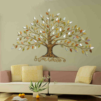 Europe home decoration tree shape wrought iron 3D wall stickers home decor tv background wall decorative 3d iron wall sticker