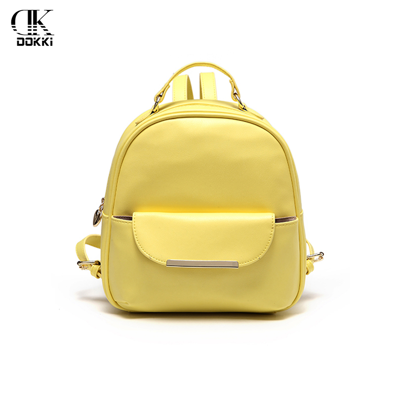 Dokki Backpacks Women's Bags Backpacks For Women Girls Female Yellow Fashion Ladies Solid Softback High Quality Pu Leather