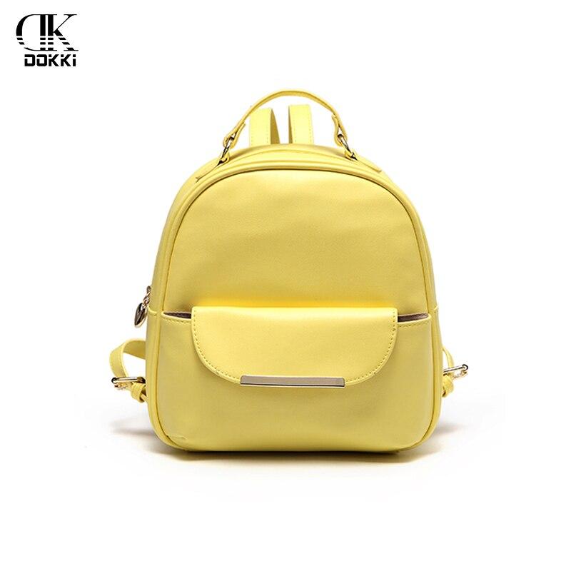 DOKKI Backpacks Women's Bags Backpacks For Women Girls Female 2018 Yellow Fashion Ladies Solid Softback High Quality PU Leather