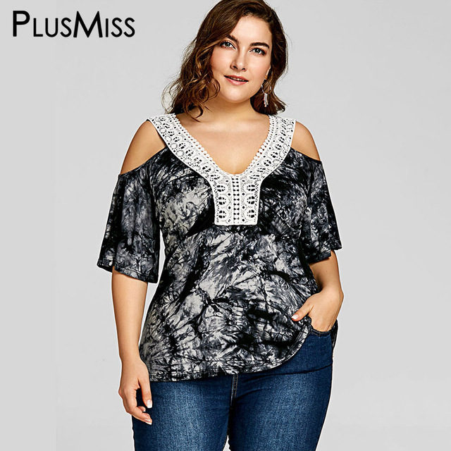 a42a6bf966e54b PlusMiss Plus Size 5XL Tie Dye Sexy Cold Shoulder Crochet Tops Women  Clothes Big Size Half Sleeve Ethnic Boho Blouse Summer 2018