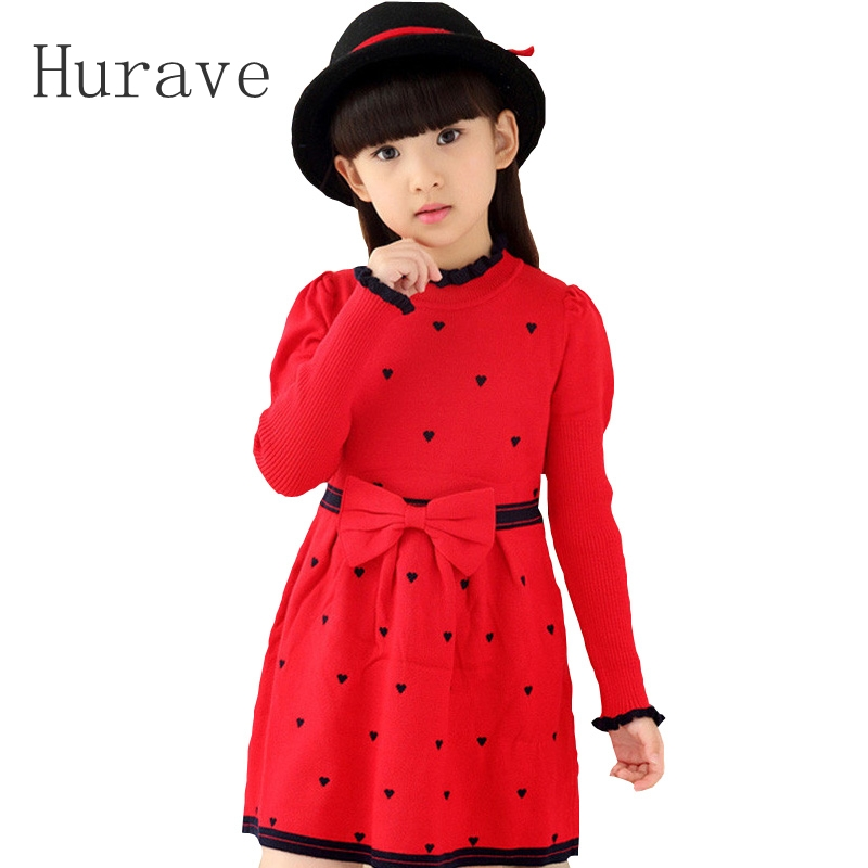 Hurave 2016 Winter Sweater Dress Girls Bow Sweater Clothes Kids Girl England Dresses Sweater Dresses Baby Girl Winter Clothes 2017 winter sweater dress for girls sweater clothing long sleeve kids girl dresses sweater dresses baby girl winter clothes