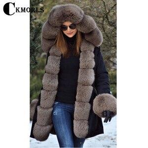 Image 4 - CKMORLS 2018 New Natural Fox Fur Jackets For Women Fur Parkas Casual Streetwear Harajuku Goth Long Coat Plus Size Long Fur Parka