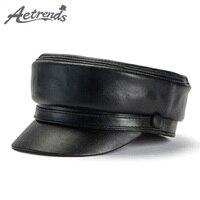 AETRENDS 2019 New Genuine Leather Newsboy Cap Men Hat Women S Hat Leather  Newsboy Hats b239c8fc94a