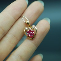 18K Rose Gold Natural Ruby pendant Cute style fashion gift women