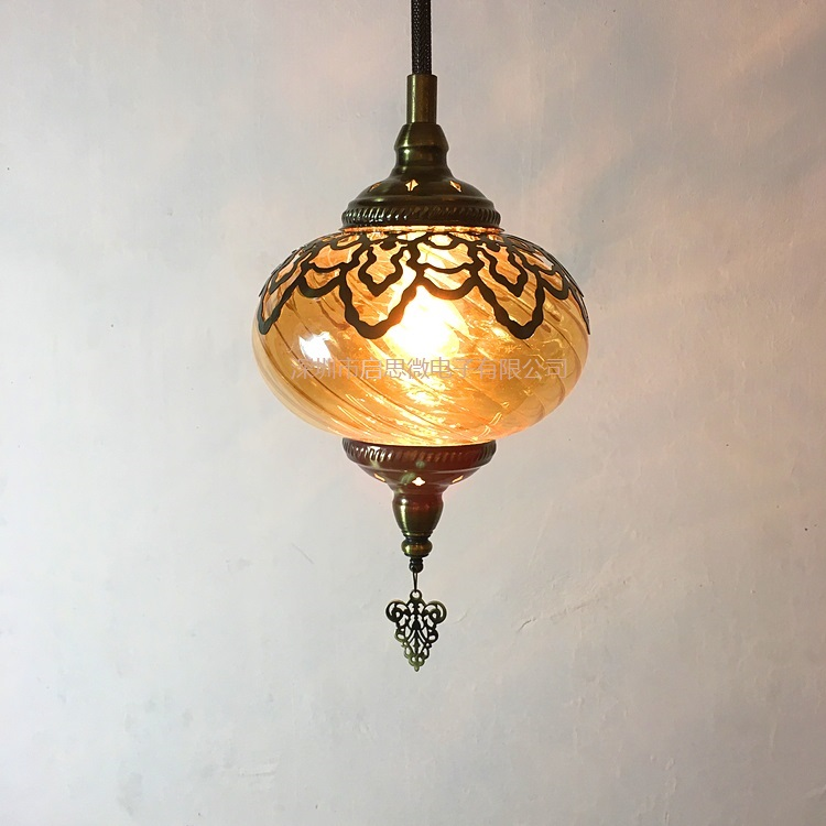 Image 2 - Newest style Turkey ethnic customs Hollow carving lamp Romantic cafe restaurant bar tree pendant light Streamline glass lighting-in Pendant Lights from Lights & Lighting