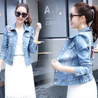 Denim Jacket Women Jackets Sequins Coat Slim Vintage Outwear