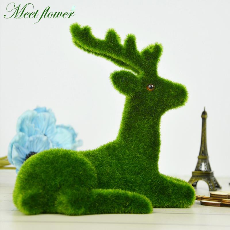20*17cm Handmade Novelty Turf Deer Simulation Moss Grass Animal Rest Deer Home Table Decoration Fake Plant Gift for Christmas