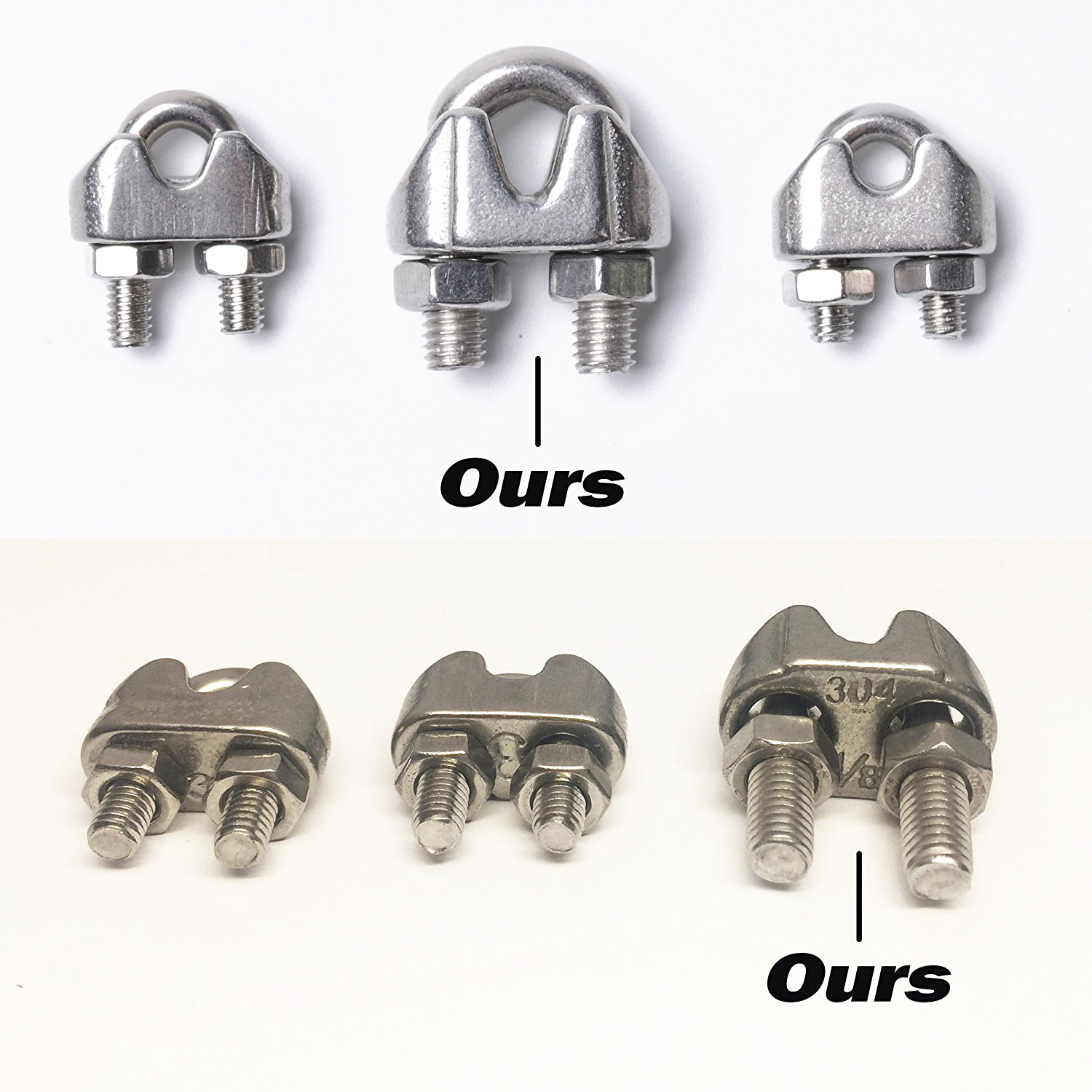 цена на 4-Pcs Turnbuckle/Tension(Eye&Hook, M6), 16-Pcs 1/8 Inch Wire Rope Cable Clip/Clamp(M3), 8-Pcs Thimble(M3), Stainless Steel Kit