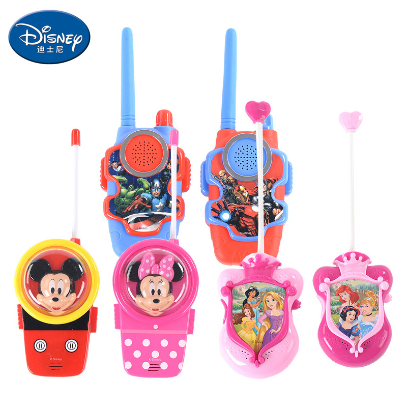 Disney Toys For Children  Walkie-talkie Outdoor Machine Wireless Telephone Hand-held Boy And Girl Walkie Talkie 2 Pcs  Kids Gift