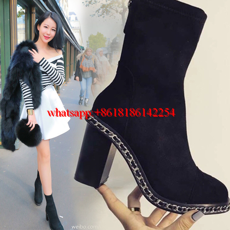 Women High-heeled Mid-Calf Boots Elastic Suede Boots with Chain Martin Leather Short Boots Stivali Donna Spring/Winter 2016