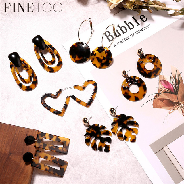 7990cd2dbf1d8 US $1.47 40% OFF|Fashion Geometric Tortoiseshell Acetate Resin Acrylic  Earrings For Women Leopard Print Leaf Heart Tortoise Earrings Pendientes-in  ...