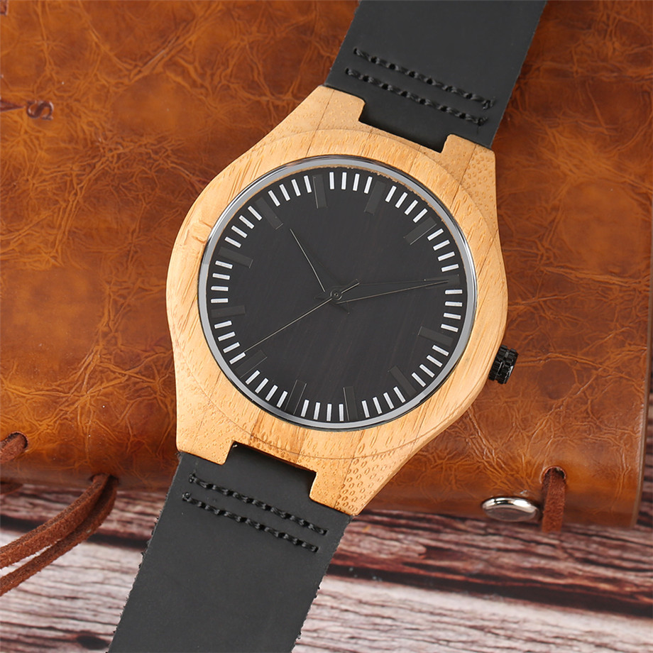Black dial genuine leather band wood watch men11