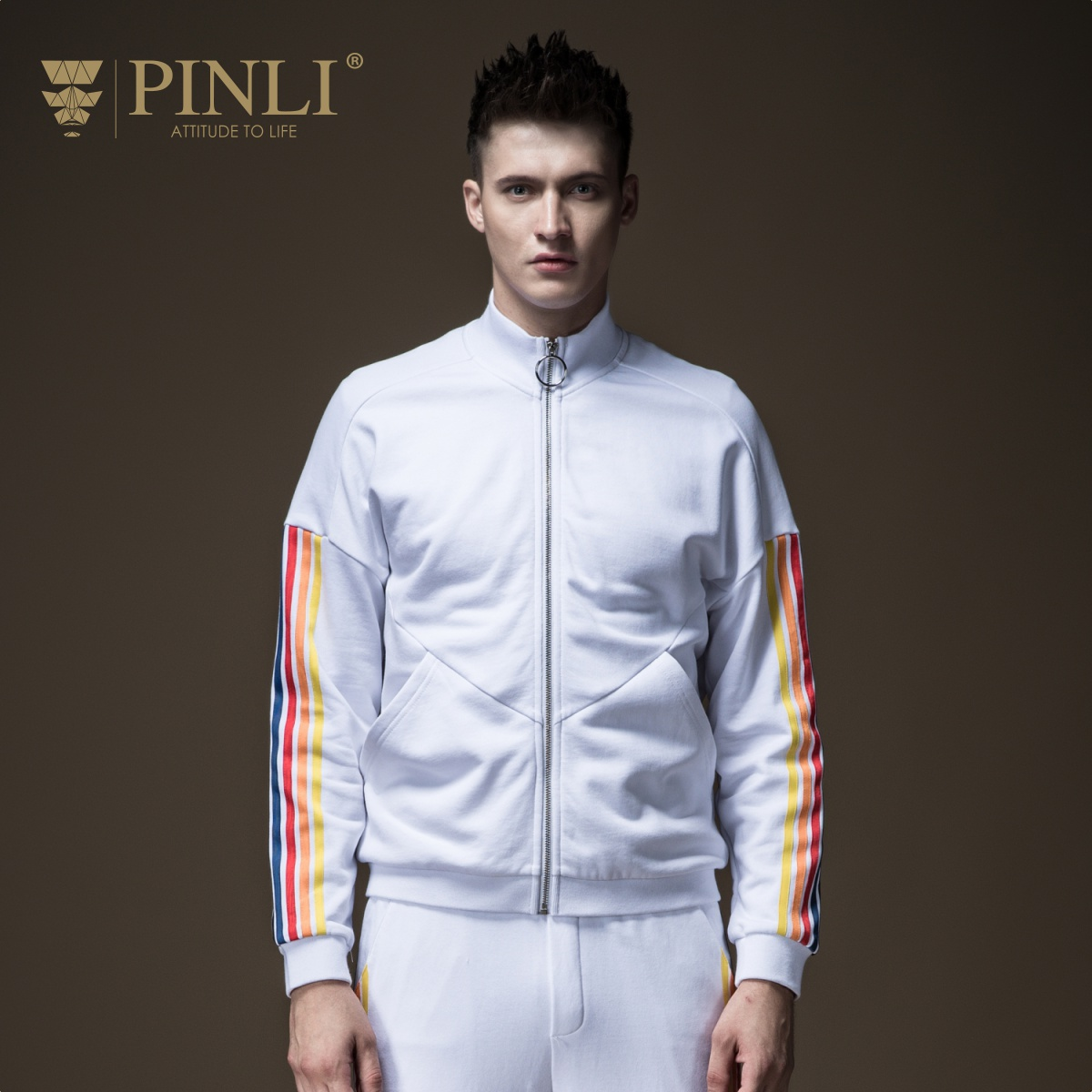 Pinli 2020 Spring New Discount Clearance Slim Mock-neck Hot Sale Sportswear Color Stripes Cotton Casual Men Jacket Sweater Coat