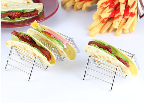 Convenient Chic Stainless Steel Taco Holder Stand Tray Rack Oven Dishwasher Safe Restaurant Hot in Pie Tools from Home Garden