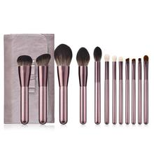 12PCS Champagne Gold Makeup Brushes Set Foundation Powder Blush Eye Shadow Lip Brush Face Beauty Tools Kit with Case