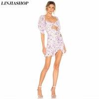 Boho white beach summer dress slim waist square neck lantern sleeve high waist ruffles lining for love hollow out mini dress