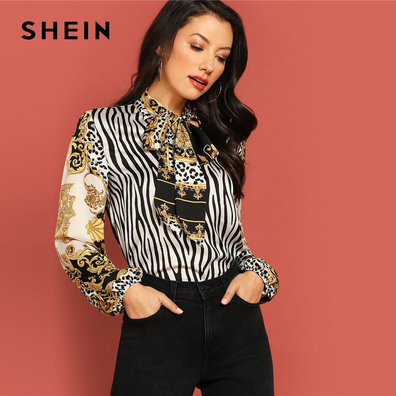 8345f041d5a45 SHEIN Multicolor Tie Neck Geometric Mixed Print Top Modern Lady Workwear  Royal Long Sleeve Blouse Autumn Women Tops And Blouses