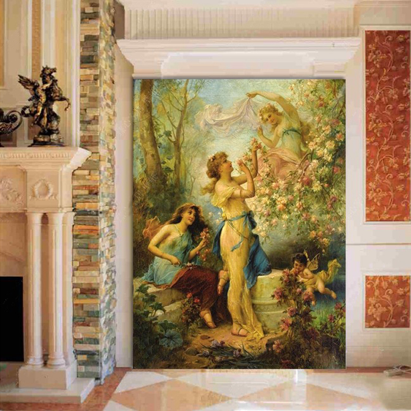 European Style Religion Angels Wall Mural Photo Wallpaper Living Room Restaurant Hotel Entrance Wall Decor Customized Wallpapers