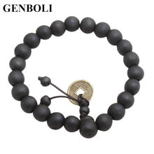 10MM Charming Men Women Buddhist Beads Bracelet Wooden Unisex Bracelet Bangle Jewelry All Match Clothes Costume Bracelet(China)