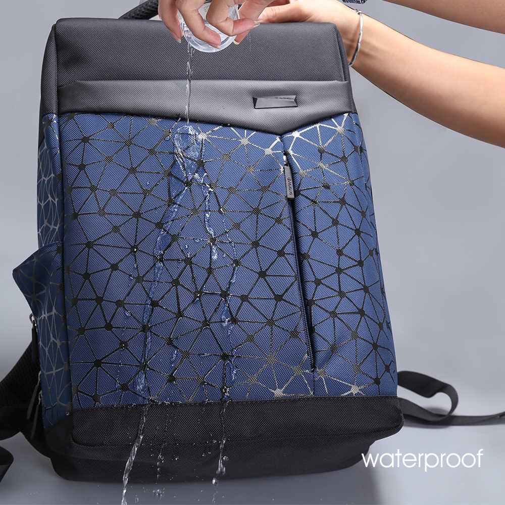 Aoking Waterproof Anti-theft Backpack Men with USB Charging Port College Students Bag Laptop Backpack Urban Geometric school bag