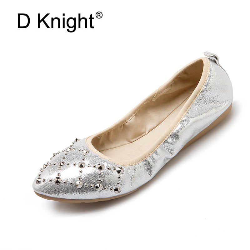 Gold Silver Rivet Ballet Flats 2018 Casual Loafers Slip On Shoes Woman Shallow Summer Spring Women Flat Shoes Plus Size 33-41 jingkubu 2017 autumn winter women ballet flats simple sewing warm fur comfort cotton shoes woman loafers slip on size 35 40 w329
