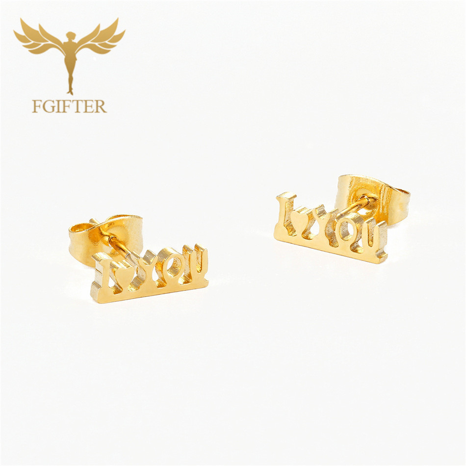 Fgifter Romantic Love Word Earrings For Lovers Gold Color Steel Stud Earring Cute Small Studs Lovers
