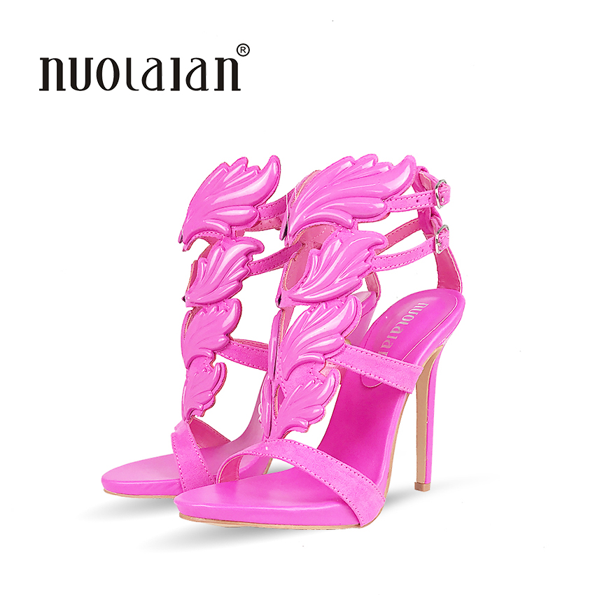Brand women pumps metallic winged gladiator high heel pumps shoes for women 12CM high heels sandals party wedding shoes woman new women gladiator sandals ladies pumps high heels shoes woman clear transparent t strap party wedding dress thick crystal heel