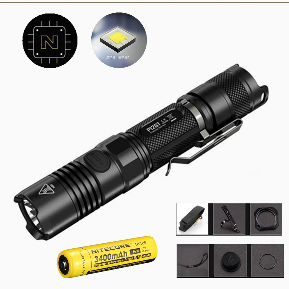 NITECORE P12GT Flashlight with Nitecore Nl189 3400mah 18650 battery 7 modes CREE XP-L HI V3 LED 1000 lumens 320m beam distance nitecore p12gt cree xp l hi v3 1000lm led flashlight 320 meter torch new i2 charger 18650 3400mah battery for search